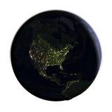 Северная Америка на земле на ноче изолированной на белизне Стоковые Изображения RF