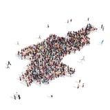 Северная Корея карты формы группы людей Стоковые Изображения RF