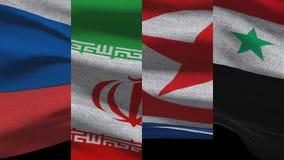 Северная Корея России Ирана и флаги Сирии развевая бесплатная иллюстрация