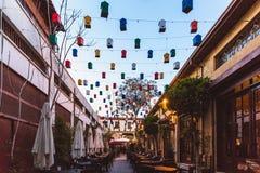 Северная Никосия, турецкая республика северного Кипра - 27-ое февраля 2019: Яркое кафе с красивым оформлением на севере стоковые фото