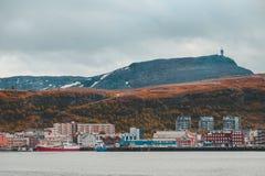 Северная Норвегия, взгляд города Хаммерфеста Стоковые Фотографии RF
