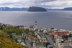 Северная Норвегия, взгляд города Хаммерфеста Стоковая Фотография RF