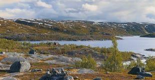 Северная Норвегия, взгляд на норвежской стороне границы на Riksgrensen, между Narvik и Abisko Стоковые Изображения