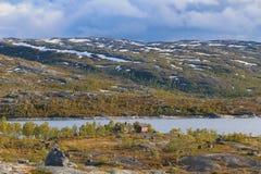 Северная Норвегия, взгляд на норвежской стороне границы на Riksgrensen, между Narvik и Abisko Стоковое Изображение