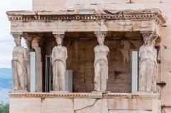 Северное крылечко, висок Erechtheion или Erechtheum на холме акрополя Удостаивать Афины & Poseidon, это известное, древнегречески стоковое изображение