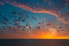 Северное море захода солнца, Нидерланды Стоковые Фото