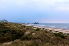 Северное море Blankenberge дюн пристани, Фландрия, Бельгия стоковое фото
