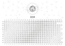 Северное полушарие календаря 2019 луны стоковое фото