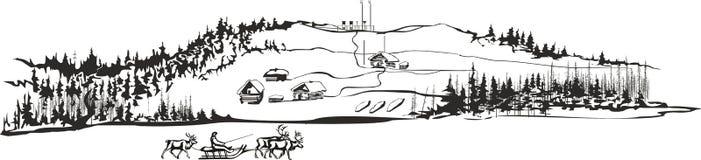 Северное поселение с командой северного оленя Стоковое Изображение RF