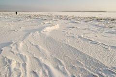 Северное река Dvina покрыто с льдом Стоковые Изображения RF