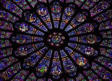 Северное розовое окно на соборе Нотр-Дам, Париже Стоковое Фото