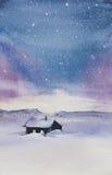 Северное сияние в горах бесплатная иллюстрация