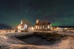 Северное сияние в исландских землях стоковое изображение rf