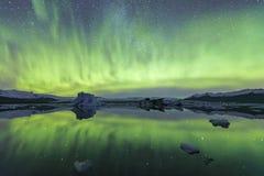 Северное сияние в Исландии Стоковые Фотографии RF