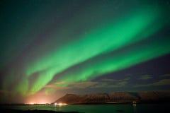 Северное сияние в Исландии стоковые фото
