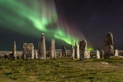 Северное сияние над камнями Callanish Стоковая Фотография RF