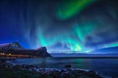 Северное сияние на небе в Норвегии Стоковое Фото