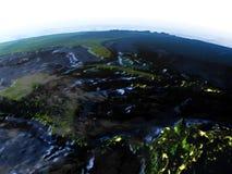 Северно Вест-Инди на земле на ноче - видимом океанском дне иллюстрация вектора