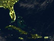 Северно Вест-Инди на ноче на земле планеты иллюстрация штока