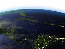Северно Вест-Инди на ноче на реалистической модели земли бесплатная иллюстрация