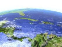 Северно Вест-Инди на реалистической модели земли иллюстрация вектора