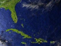Северно Вест-Инди на реалистической модели земли иллюстрация штока