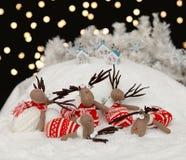 Северные олени в ноче рождества Стоковые Фото
