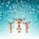 Северные олени рождества в шляпах Санты иллюстрация вектора