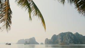 Северный Вьетнам Длинной Ha прогулки города с пальмами Утесы и горы акции видеоматериалы