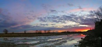 северный заход солнца Стоковое Изображение RF