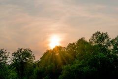 Северный заход солнца Мичигана Стоковое Изображение RF