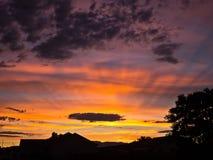Северный заход солнца Невады Стоковая Фотография