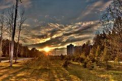 Северный заход солнца Стоковое Фото
