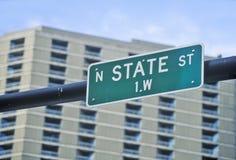 Северный знак улицы положения, Чикаго, Иллинойс Стоковая Фотография
