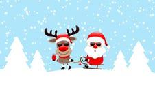 Северный олень вытягивая сани со снегом солнечных очков Санта и синью леса иллюстрация вектора