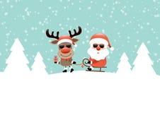 Северный олень вытягивая сани со снегом солнечных очков Санта и бирюзой леса иллюстрация штока