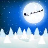 Северный олень в проводке с санями Санта Клаусом бесплатная иллюстрация