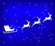 Северный олень катания Санта Клауса на голубой сияющей предпосылке рождества иллюстрация вектора