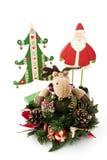 Северный олень Кристмас, ель и Дед Мороз. Стоковые Фотографии RF