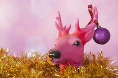 Северный олень рождества с орнаментами Стоковая Фотография RF