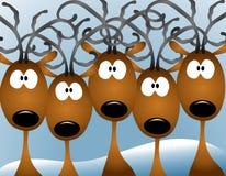 северный олень рождества шаржа карточки Стоковое Изображение RF