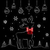 Северный олень с красным классн классным смычка Стоковые Изображения