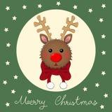 Северный олень с красным шарфом на зеленой поздравительной открытке рождества также вектор иллюстрации притяжки corel иллюстрация штока