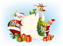 Северный олень Santa Claus, эльфы Стоковые Фото