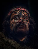 СЕВЕРНЫЙ ОСТРОВ, НОВАЯ ЗЕЛАНДИЯ 17-ОЕ МАЯ 2017: Портрет человека руководителя Tamaki маорийского с традиционно tatooed стороной в Стоковые Изображения RF