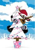 Северный олень & дерево Санты рождества Стоковая Фотография