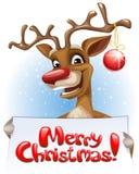 Северный олень держа с Рождеством Христовым знамя Стоковые Изображения