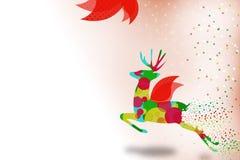 северный олень летая абстрактная правая предпосылка Стоковая Фотография