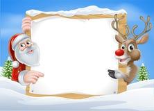 Северный олень рождества и знак Санты Стоковые Фотографии RF