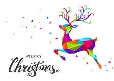 Северный олень рождества и Нового Года в стиле origami Стоковое Изображение RF